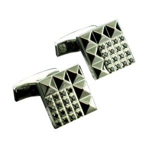 S.T.Dupont Stainless Steel & Black Diamond Cufflinks
