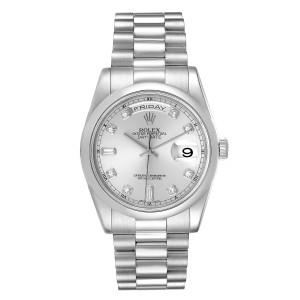Rolex President Day-Date Platinum Diamond Mens Watch 118206