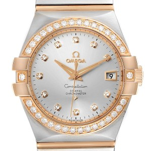 Omega Constellation Steel Rose Gold Diamond Mens Watch 123.25.35.20.52.001