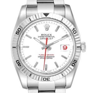 Rolex Turnograph Steel White Gold Bezel Mens Watch 116264 Box