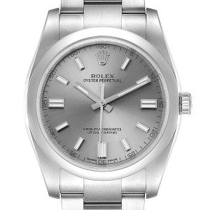 Rolex Oyster Perpetual Rhodium Dial Steel Mens Watch 116000 Box Card