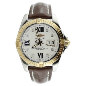 Breitling Cockpit C49350 Two Tone Diamond Markers Alligator Strap Watch