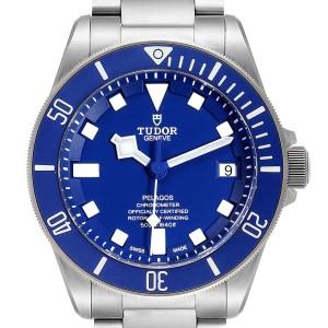 Tudor Pelagos Blue Dial Automatic Titanium Mens Watch 25600 Box Papers