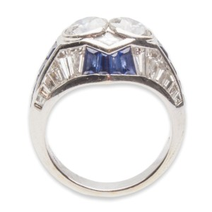 Adler 18K White Gold Diamond and Blue Sapphire Ring