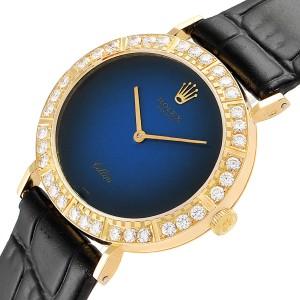 Rolex Cellini Yellow Gold Blue Dial Diamond Ladies Watch 4083