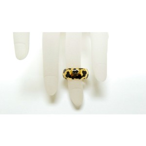18K Yellow Gold & Black Enamel Ladies Band Panther Ring