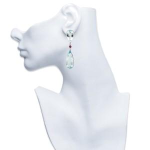 18K White Gold Aquamarine Diamond and Ruby Earrings