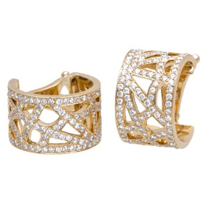 Chaumet 18K Yellow Gold Diamond Earrings and Ring Size 6.25 Set