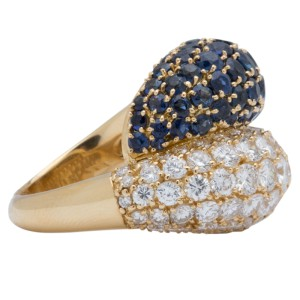 Van Cleef & Arpels 18K Yellow Gold and Sapphire Ring Size 6