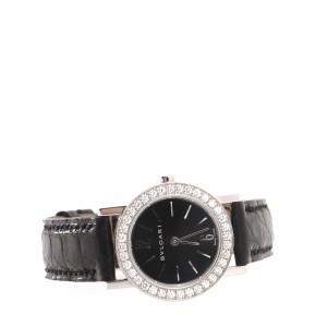 Bvlgari Bvlgari Bvlgari Quartz Watch White Gold and Alligator with Diamond Bezel 26