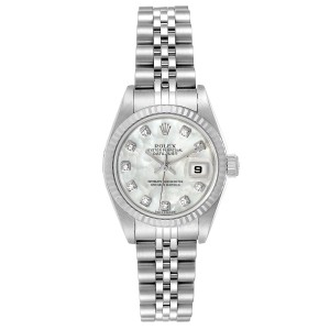 Rolex Datejust Steel White Gold MOP Diamond Ladies Watch 79174 Box Papers