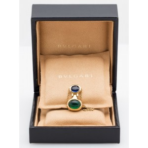 Bvlgari Yellow Gold Sapphire and Emerald Pendant Necklace