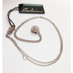 Salvini 18kt White Gold & Diamond Cluster Necklace