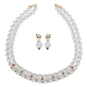 Boucheron 18K Yellow Gold Diamond & Multi-Gem Necklace Earrings Set