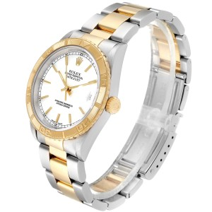 Rolex Datejust Turnograph Steel Yellow Gold White Dial Mens Watch 16263 Box Papers