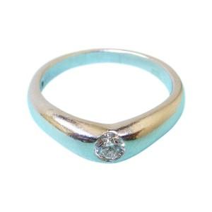 Tiffany & Co. Platinum Elsa Peretti Solitaire Diamond Curved Band Ring