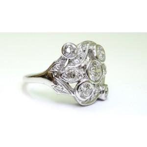 14K White Gold Old European Cut Cocktail Diamond Ring