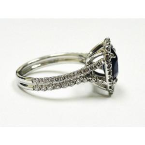 18K White Gold  Royal Blue Ceylon Sapphire Diamond Engagement Ring