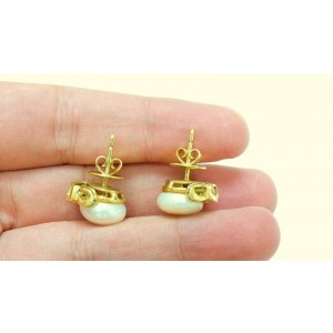 14K Yellow Gold Pearl Diamond Push Back Earring