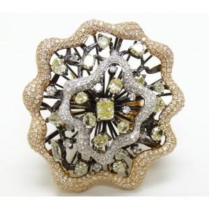 18K White & Yellow Diamond Pave Flower Cocktail Ring
