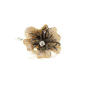 18K Rose Gold White & Black Diamond Fancy Pave Flower Cocktail Ring