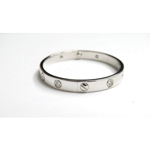 Cartier 18K White Gold Diamond Love Old Screw System Bracelet Size 16
