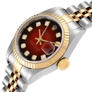 Rolex Datejust Steel Yellow Gold Red Vignette Diamond Ladies Watch 79173