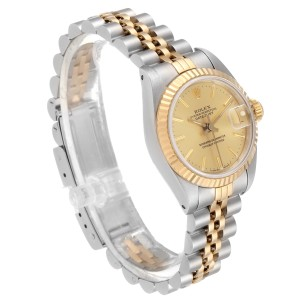 Rolex Datejust Steel Yellow Gold Fluted Bezel Ladies Watch 69173 Papers