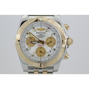 Breitling CB0140 Chronomat Two Tone Stainless Steel and 18K Rose Gold Mother Pearl Dial Mens Watch