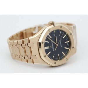 Audemars Piguet Royal Oak 15400OR.OO.1220OR.03 18K Rose Gold  Blue Dial 41mm Mens Watch