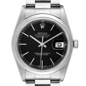 Rolex Datejust Black Dial Steel Mens Watch 16200 Papers