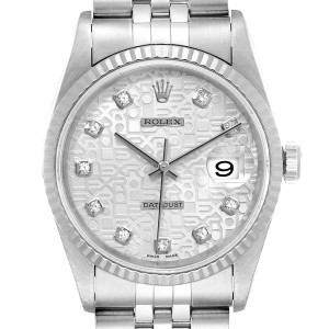 Rolex Datejust Steel White Gold Silver Diamond Dial Mens Watch 16234