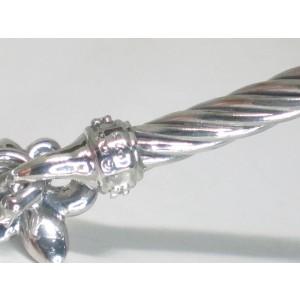 David Yurman Fleur De Lis 925 Sterling Silver .04ct Diamond Bangle Bracelet