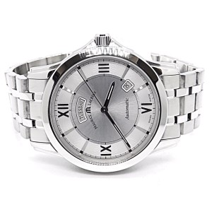 Maurice Lacroix Pontos PT 6058 Stainless Steel Silver Dial Day Date Automatic 39mm Mens Watch