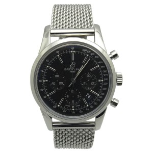 Breitling Transocean AB015212 Stainless Steel & Black Dial 43mm Mens Watch