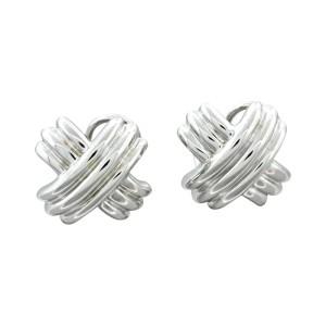 18k White Gold X Shape Omega Back Earrings