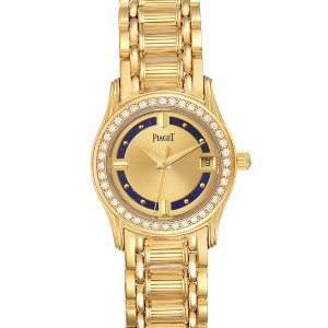 Piaget Polo Yelow Gold Lapis Lazuri Dial Diamond Ladies Watch 22005