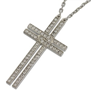 Cartier 18K White Gold with Pave Diamond Cross Motif Pendant Necklace