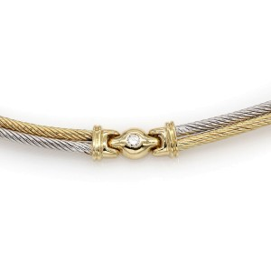 Charriol 18K White & Yellow Gold 0.35ctw Diamond Cable Necklace