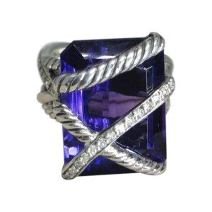 David Yurman 925 Sterling Silver Amethyst 0.33ctw. Diamond Wrap Ring Size 6