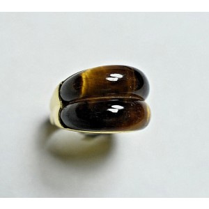 Vintage Tiffany & Co. 18k Yellow Gold Tiger's Eye Ring Size 5.5