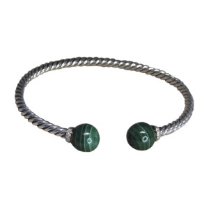 David Yurman 925 Sterling Silver with Malachite and 0.03ct Diamond Cuff Bracelet