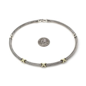 David Yurman Cable Classics 925 Sterling Silver & 14K Yellow Gold X Station Three Section Necklace