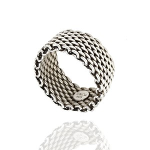 Tiffany & Co. 925 Sterling Silver Somerset Mesh Band Ring Size 8.25