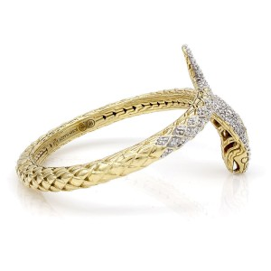 John Hardy 18K Yellow & White Gold 1.22ctw Diamond Cobra Bracelet
