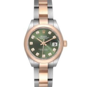 Rolex Datejust Steel Rose Gold Olive Green Diamond Ladies Watch 279161 Box Card