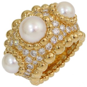 Chanel 18K Yellow Gold Faux Pearl, Diamond Ring Size 5