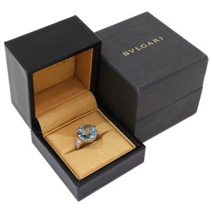 Bulgari 18K White Gold Diamond, Topaz Ring Size 5