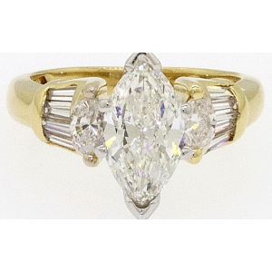 18K Yellow Gold 1.31ct Marquise Diamond Engagement Ring Size 4.25