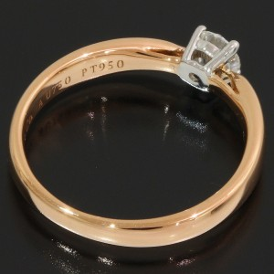 Tiffany & Co. 18K Rose Gold, Platinum Diamond Ring Size 3.5